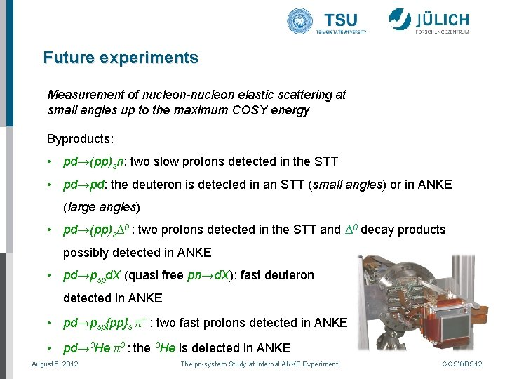 Future experiments Measurement of nucleon-nucleon elastic scattering at small angles up to the maximum