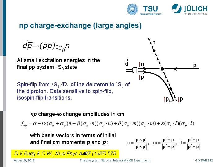 np charge-exchange (large angles) →→ n dp→(pp)1 S n 0 → d D At