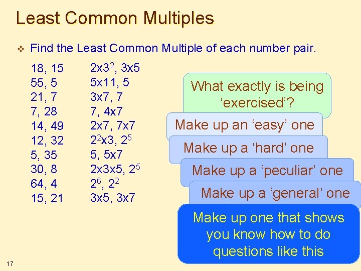 Least Common Multiples v Find the Least Common Multiple of each number pair. 18,