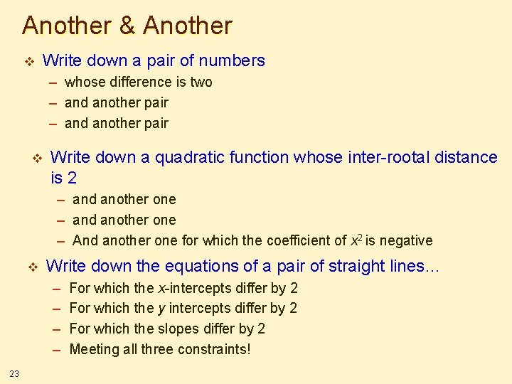 Another & Another v Write down a pair of numbers – whose difference is