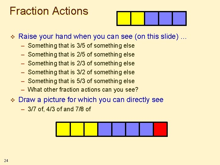 Fraction Actions v Raise your hand when you can see (on this slide) …