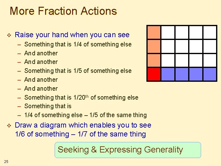 More Fraction Actions v Raise your hand when you can see – – –