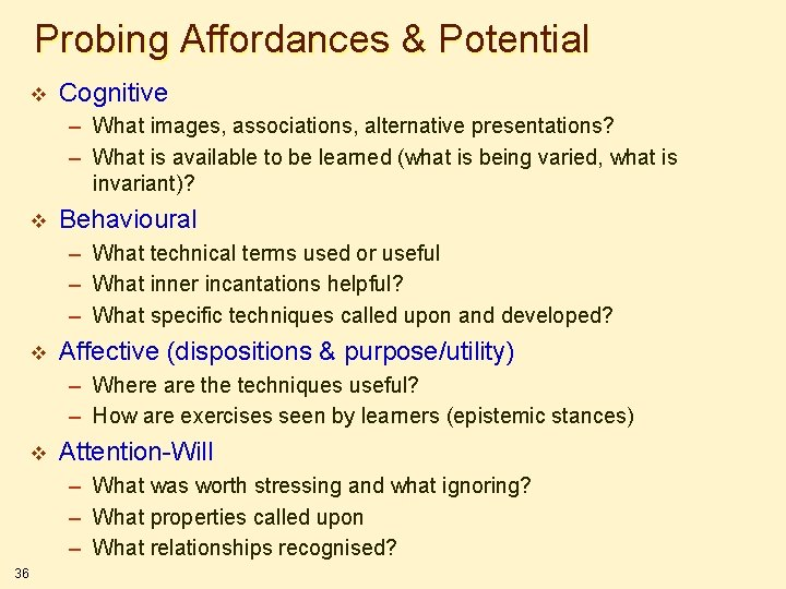 Probing Affordances & Potential v Cognitive – What images, associations, alternative presentations? – What