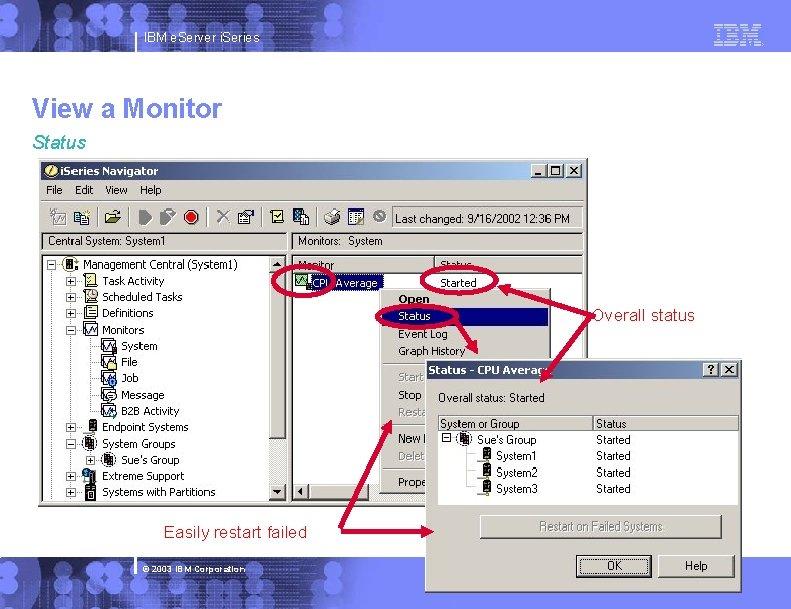 IBM e. Server i. Series View a Monitor Status Overall status Easily restart failed