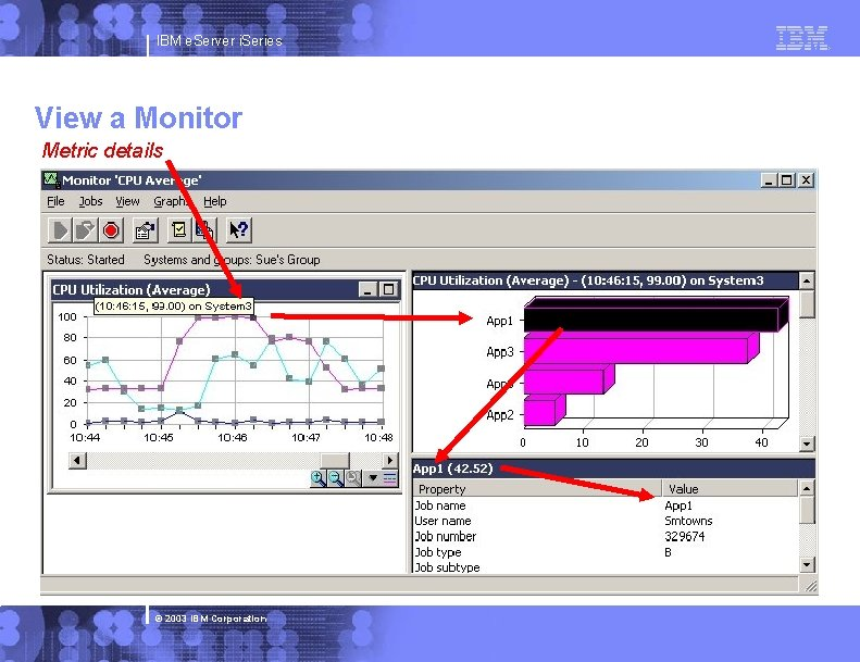 IBM e. Server i. Series View a Monitor Metric details © 2003 IBM Corporation