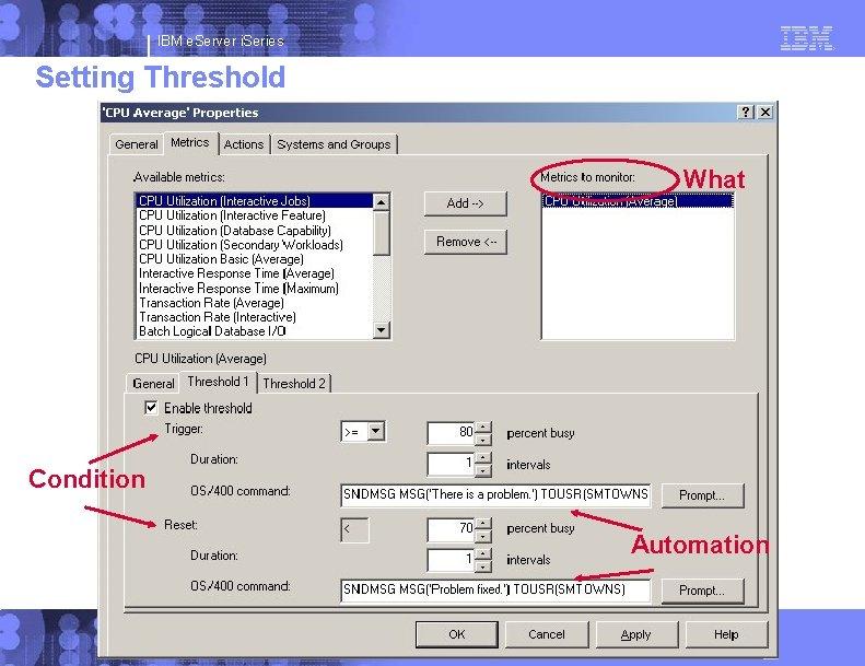 IBM e. Server i. Series Setting Threshold What Condition Automation © 2003 IBM Corporation