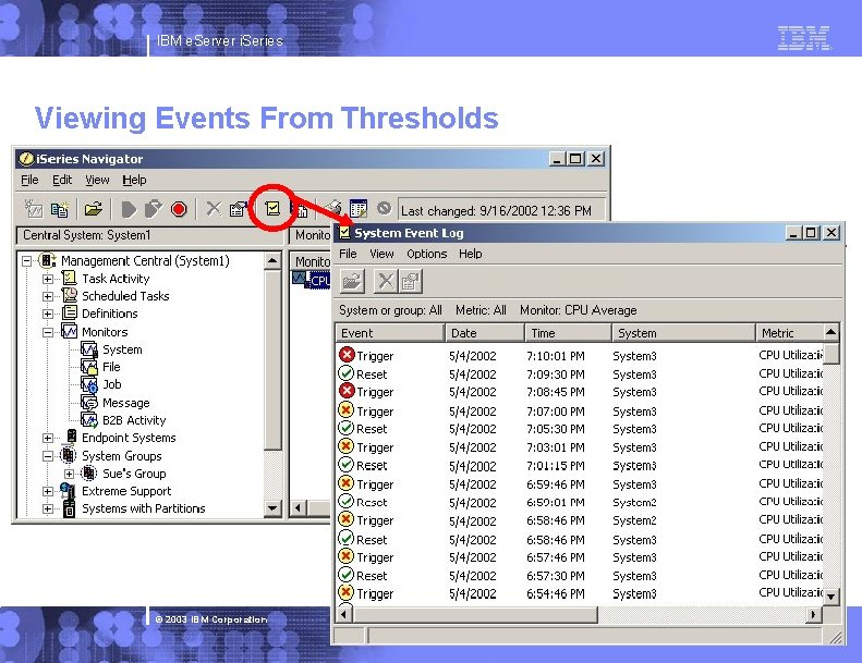 IBM e. Server i. Series Viewing Events From Thresholds © 2003 IBM Corporation