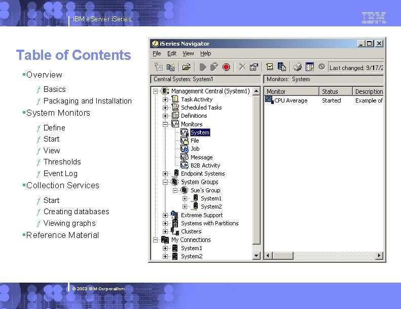 IBM e. Server i. Series Table of Contents §Overview ƒ Basics ƒ Packaging and