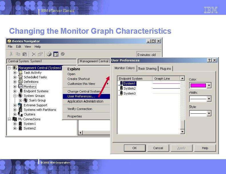 IBM e. Server i. Series Changing the Monitor Graph Characteristics © 2003 IBM Corporation