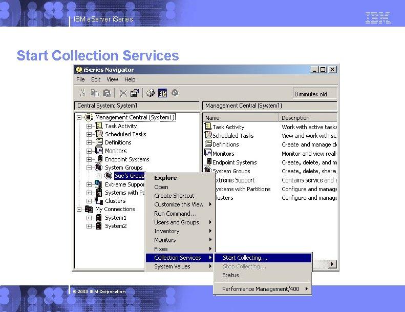 IBM e. Server i. Series Start Collection Services © 2003 IBM Corporation