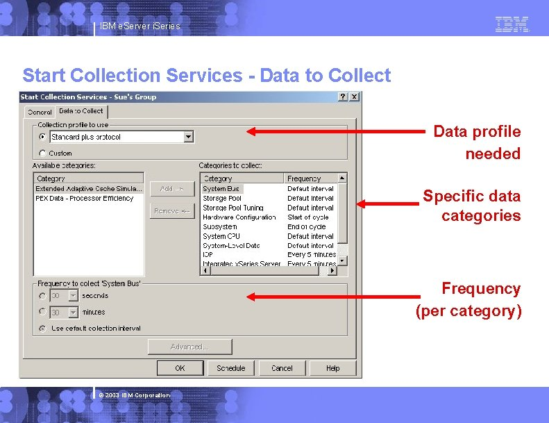 IBM e. Server i. Series Start Collection Services - Data to Collect Data profile