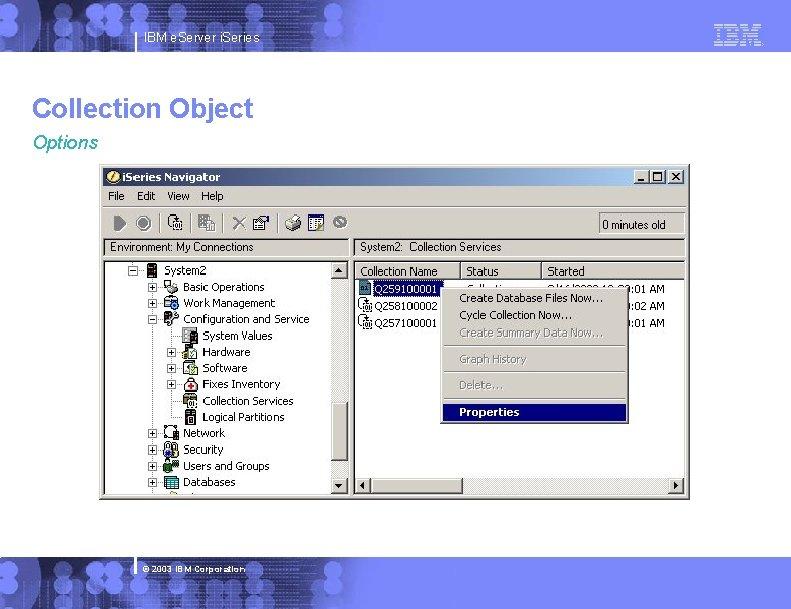 IBM e. Server i. Series Collection Object Options © 2003 IBM Corporation