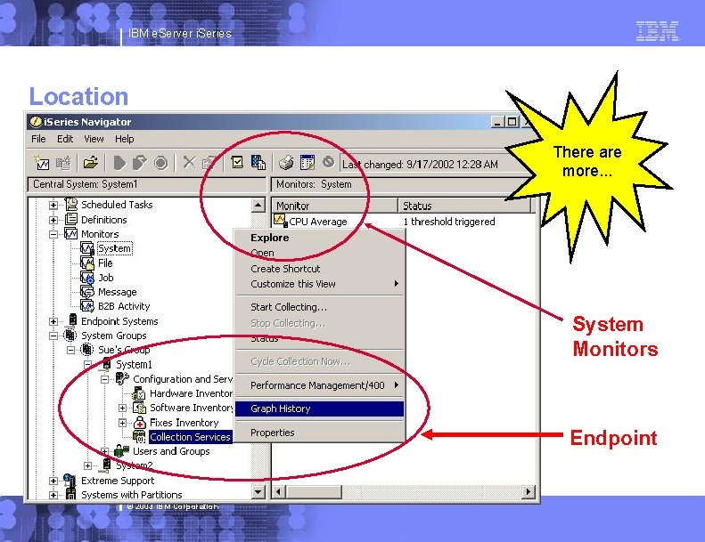 IBM e. Server i. Series Location There are more. . . System Monitors Endpoint