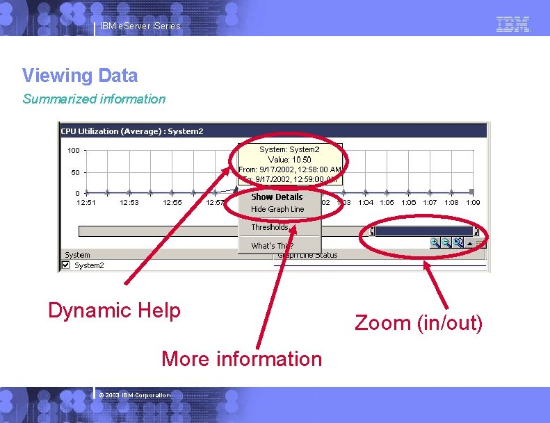 IBM e. Server i. Series Viewing Data Summarized information Dynamic Help More information ©