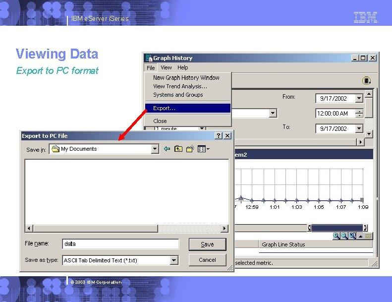 IBM e. Server i. Series Viewing Data Export to PC format © 2003 IBM