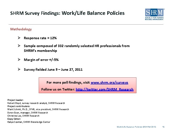 SHRM Survey Findings: Work/Life Balance Policies Methodology Ø Response rate = 12% Ø Sample
