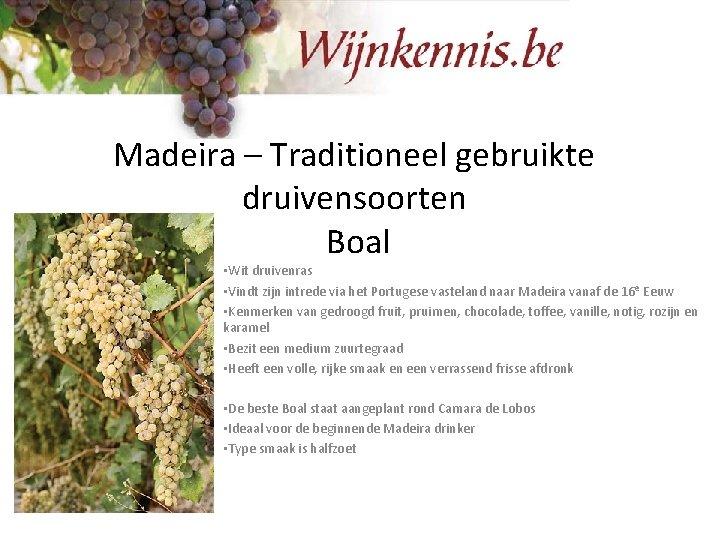Madeira – Traditioneel gebruikte druivensoorten Boal • Wit druivenras • Vindt zijn intrede via