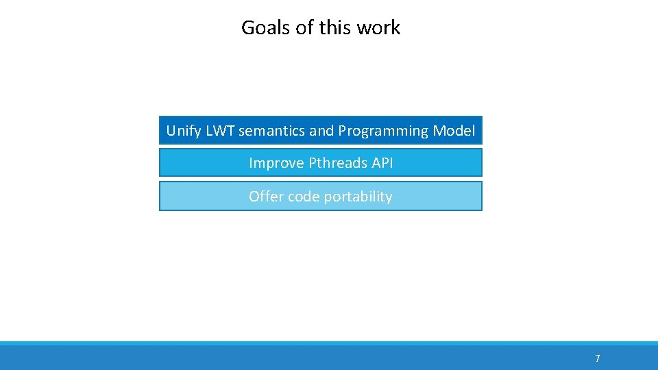 Goals of this work Unify LWT semantics and Programming Model Improve Pthreads API Offer