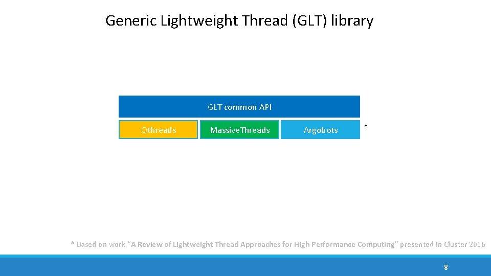 Generic Lightweight Thread (GLT) library GLT common API Qthreads Massive. Threads Argobots * *