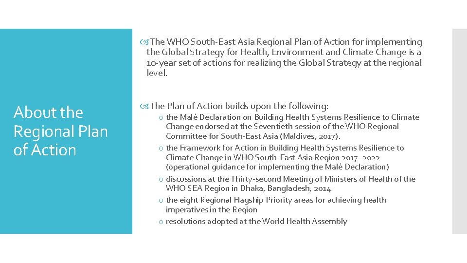 The WHO South-East Asia Regional Plan of Action for implementing the Global Strategy