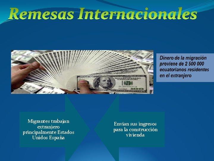 Migrantes trabajan extranjero principalmente Estados Unidos España Envían sus ingresos para la construcción vivienda