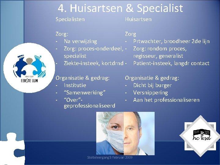 4. Huisartsen & Specialisten Huisartsen Zorg: Zorg - Na verwijzing - Prtwachter, broodheer 2