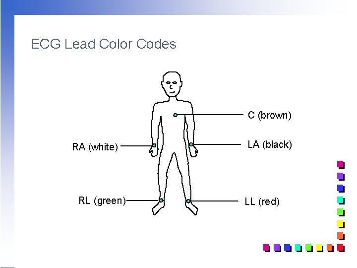 ECG Lead Color Codes C (brown) RA (white) RL (green) LA (black) LL (red)