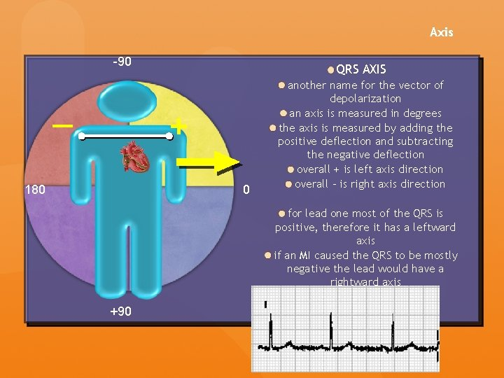 Axis -90 QRS AXIS + — 180 0 another name for the vector of