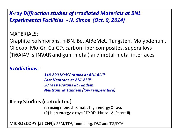 X-ray Diffraction studies of irradiated Materials at BNL Experimental Facilities - N. Simos (Oct.