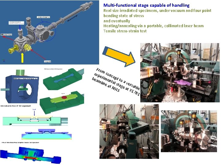 Multi-functional stage capable of handling Real size irradiated specimens, under vacuum and four point