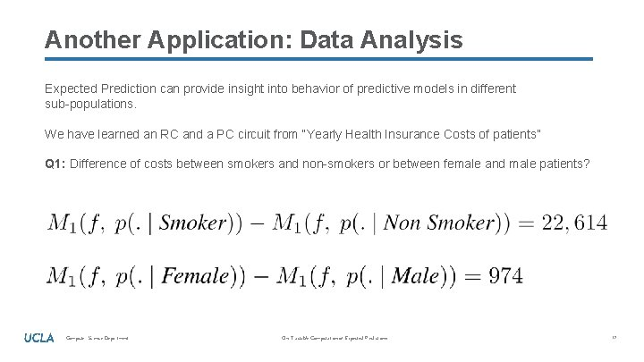 Another Application: Data Analysis Expected Prediction can provide insight into behavior of predictive models