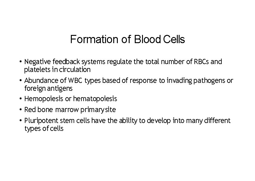 Formation of Blood Cells • Negative feedback systems regulate the total number of RBCs