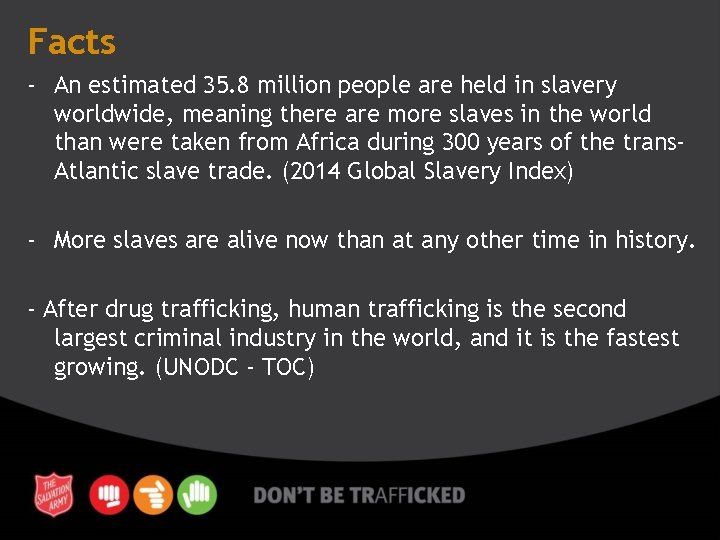 Facts - An estimated 35. 8 million people are held in slavery worldwide, meaning