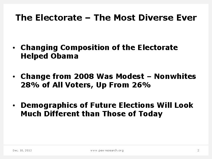 The Electorate – The Most Diverse Ever • Changing Composition of the Electorate Helped