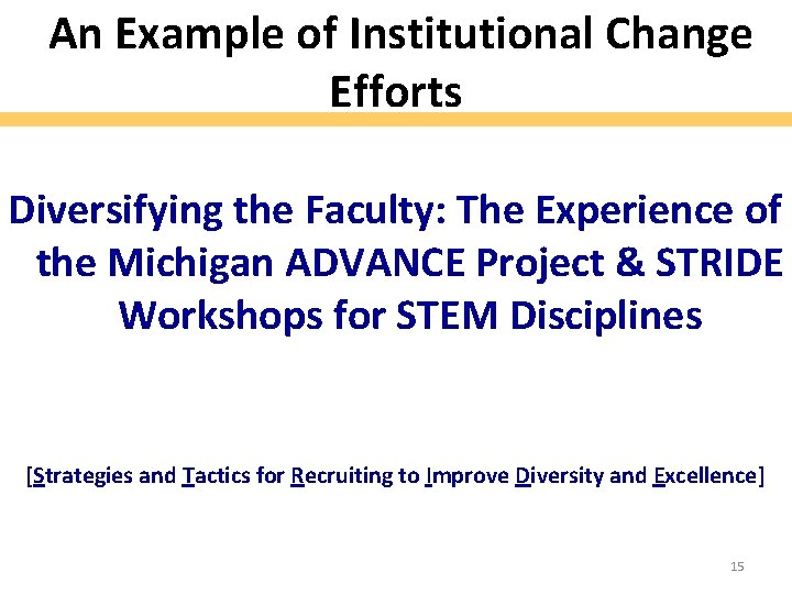 An Example of Institutional Change Efforts Diversifying the Faculty: The Experience of the Michigan