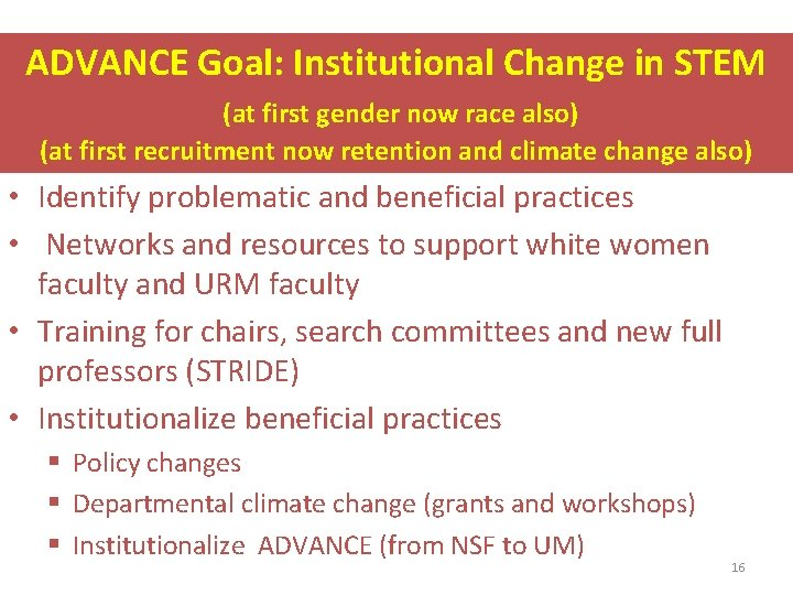ADVANCE Goal: Institutional Change in STEM (at first gender now race also) (at first