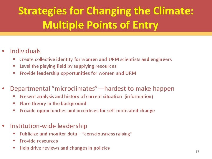 Strategies for Changing the Climate: Multiple Points of Entry • Individuals § Create collective