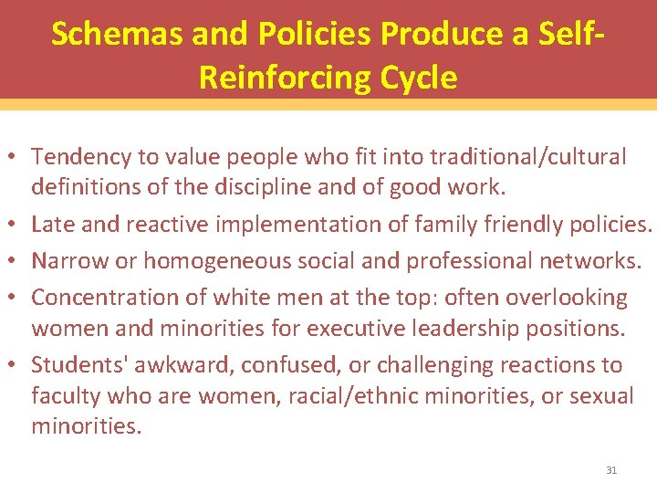 Schemas and Policies Produce a Self. Reinforcing Cycle • Tendency to value people who