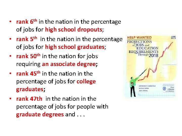 • rank 6 th in the nation in the percentage of jobs for