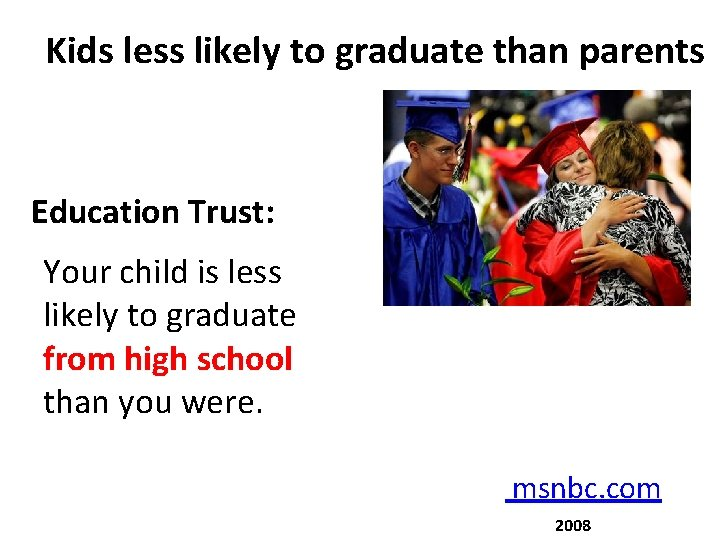 Kids less likely to graduate than parents Education Trust: Your child is less likely