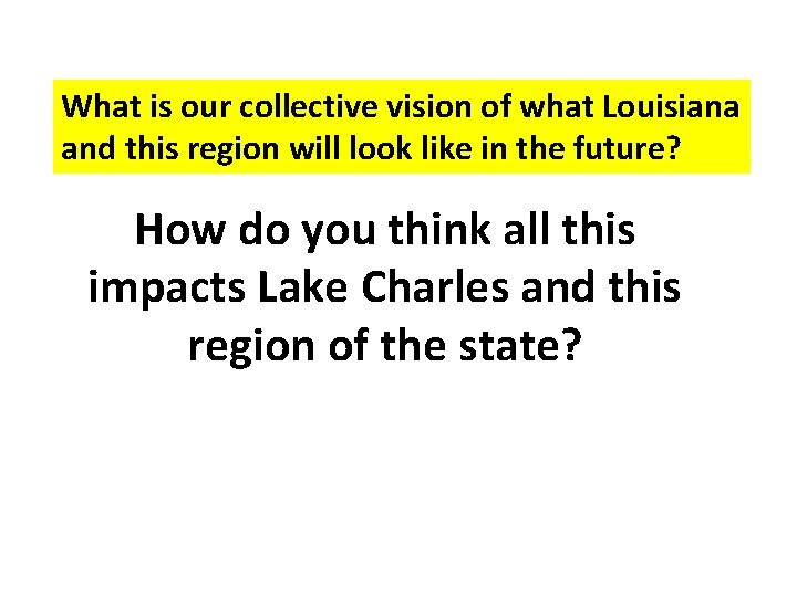 What is our collective vision of what Louisiana and this region will look like
