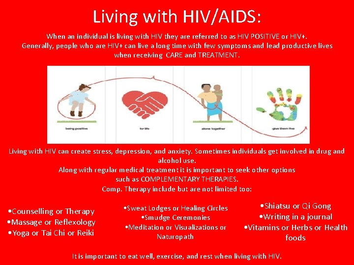 Living with HIV/AIDS: When an individual is living with HIV they are referred to