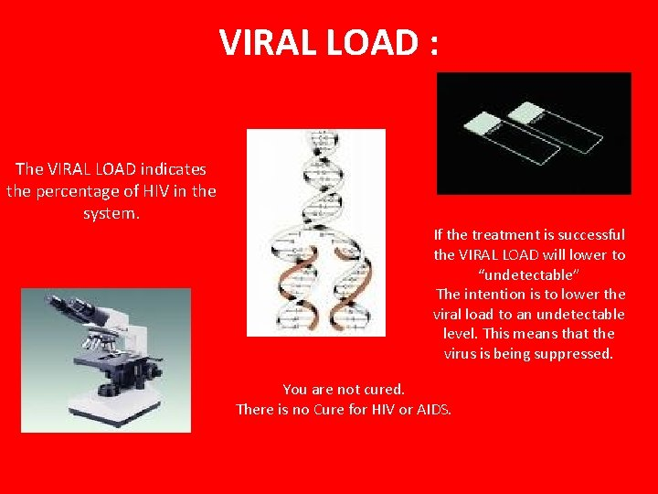 VIRAL LOAD : The VIRAL LOAD indicates the percentage of HIV in the system.