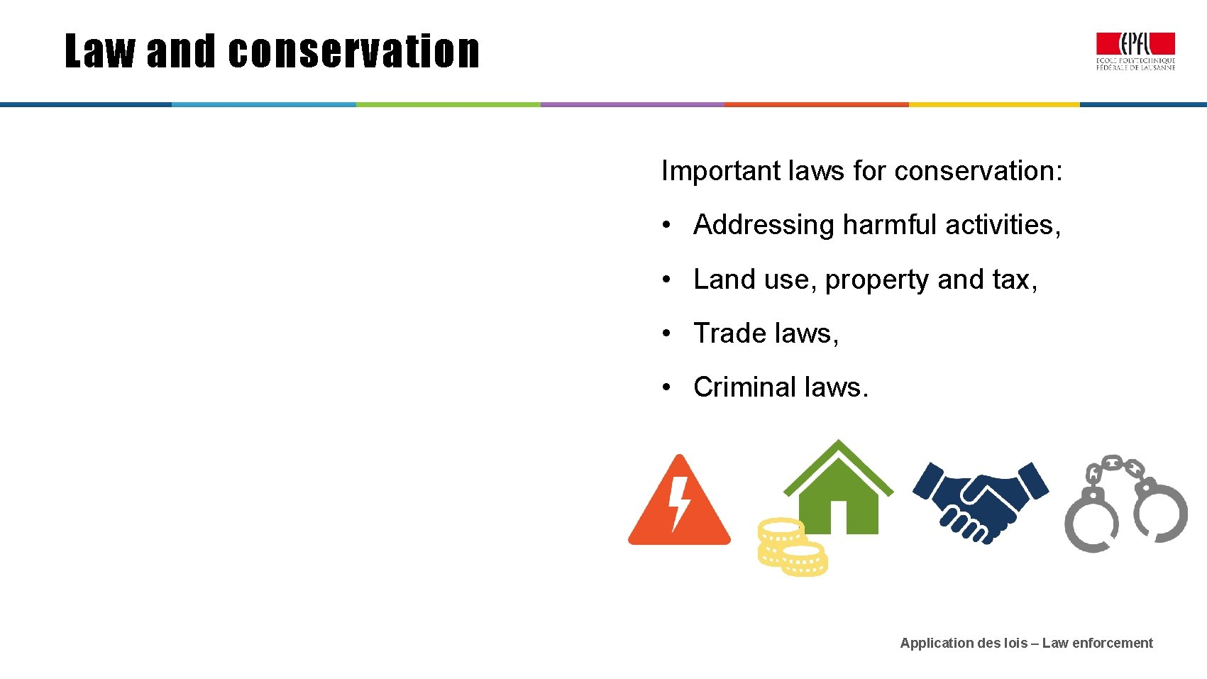 Law and conservation Important laws for conservation: • Addressing harmful activities, • Land use,