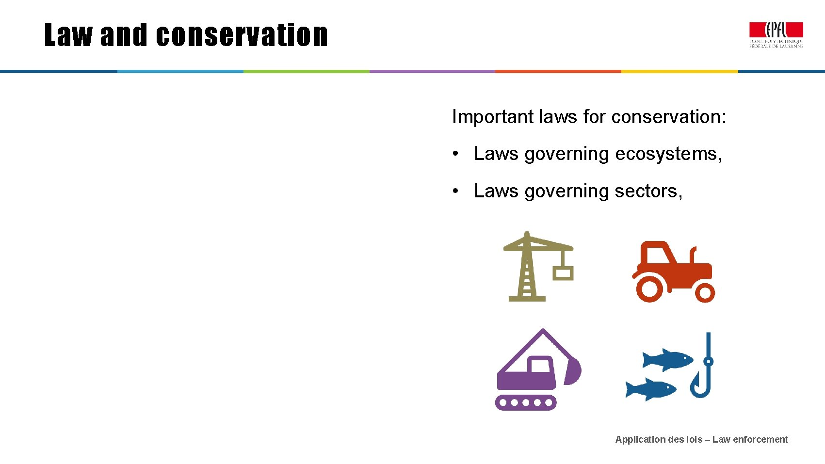 Law and conservation Important laws for conservation: • Laws governing ecosystems, • Laws governing