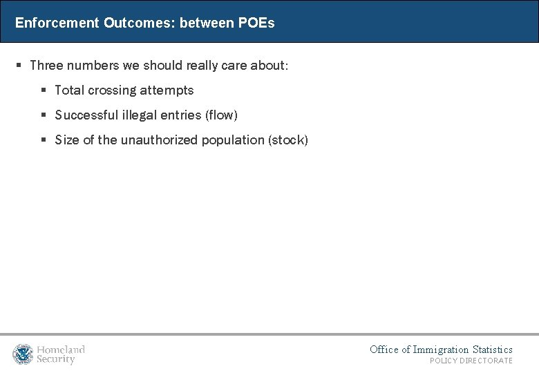 Enforcement Outcomes: between POEs § Three numbers we should really care about: § Total