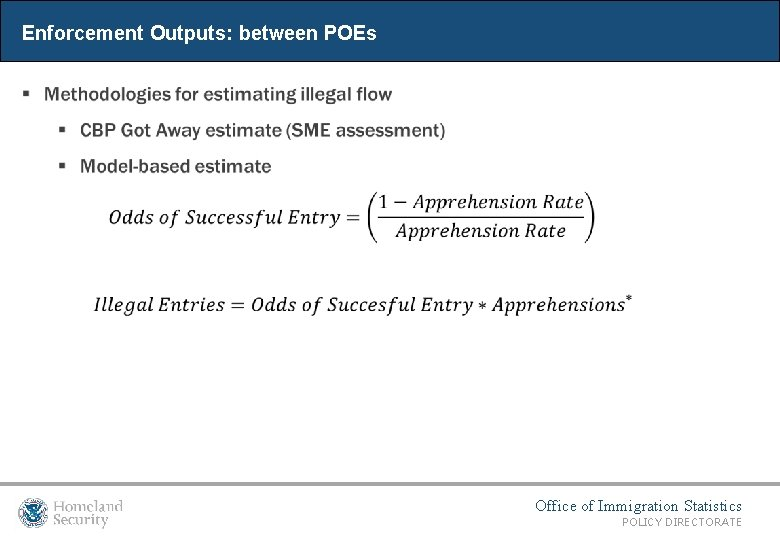 Enforcement Outputs: between POEs Office of Immigration Statistics POLICY DIRECTORATE