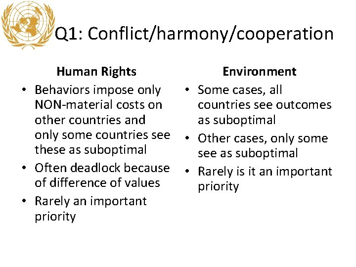 Q 1: Conflict/harmony/cooperation Human Rights • Behaviors impose only NON-material costs on other countries