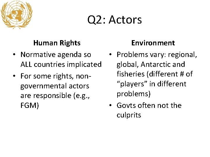Q 2: Actors Human Rights Environment • Normative agenda so • Problems vary: regional,