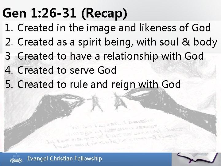 Gen 1: 26 -31 (Recap) 1. 2. 3. 4. 5. Created in the image